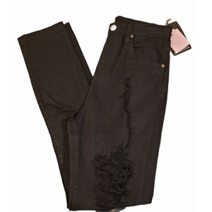 NWT PrettyLittleThing Black Distressed Jeans